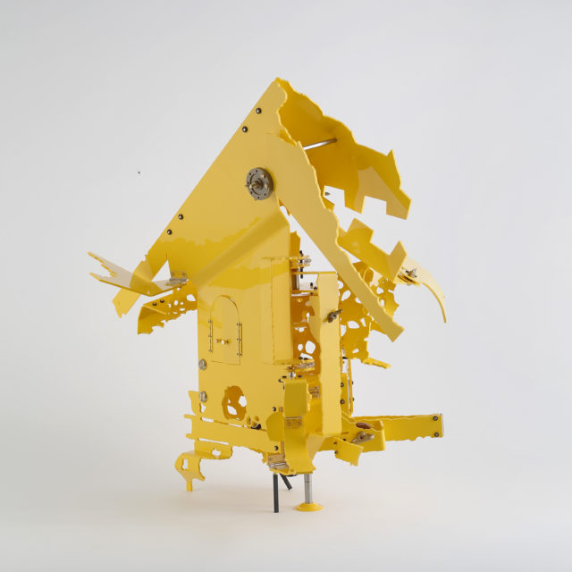 Stichting KiK, Kolderveen Milk Factory, the Netherlands, #2 2017 Compressed PVC, Hinges, Steel, Brass, Rotatable devices 55 × 55 × 35 cm