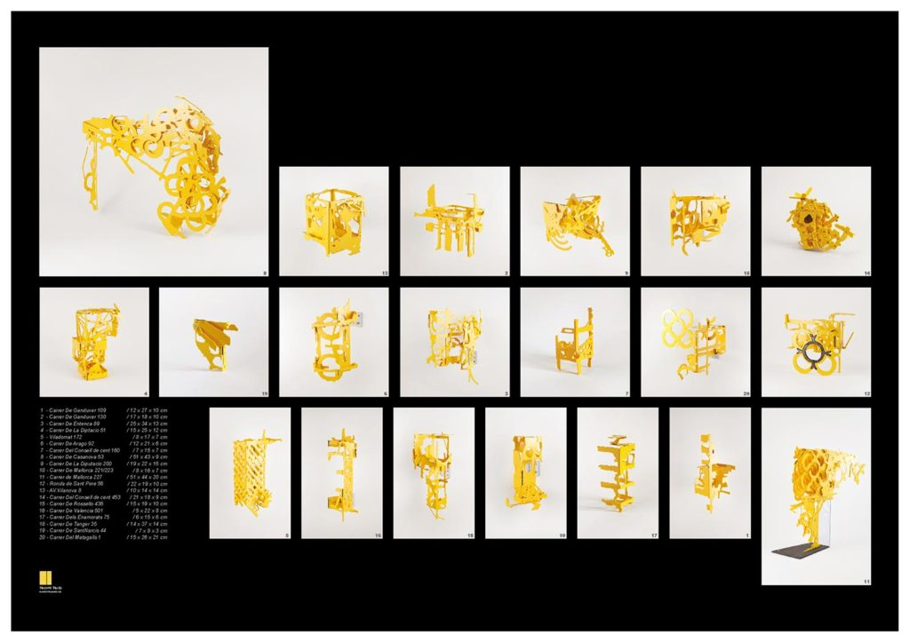 Barcelona Hecomi Map, Hecomis on the pavement, 2014, 84 x 59 cm, Supported by NOMURA Foundation, Asahi Shimbun Foundation