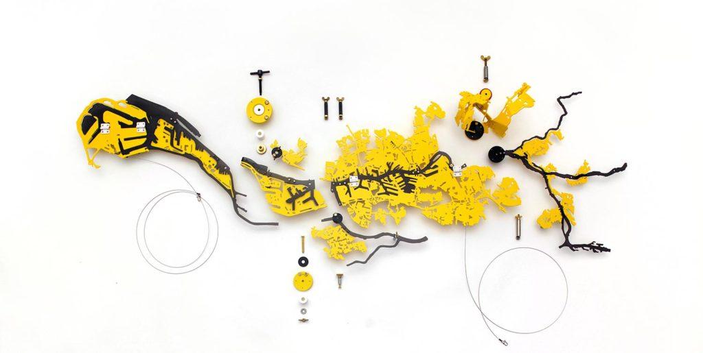 City Diagramming for Rotterdam, the Netherlands #2<br />2019, Compressed PVC, Hinges, Steel, Brass, Rotatable devices, Rubber<br />Installation size 133 x 72 x 12 cm