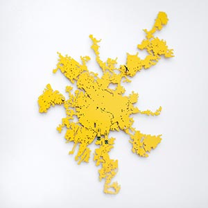 The Shape of Chengdu City, China<br />approx. 1 / 50,000 scale<br />Compressed PVC, Brass, Steel, Door latches<br />105 x 135 cm, 2019<br />