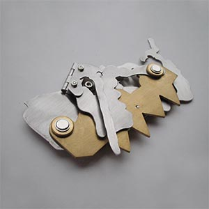 Budapest, Hungary #2<br />Stainless steel, Brass, Steel, Hinges<br />2005<br /><br />