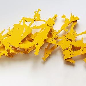 Hecomi Study for Bunkichi Okazaki<br />Higashi Barato, Sapporo, Japan #2 (model for #1)<br />Compressed PVC, Steel, Hinges<br />167 x 44 x 22 cm, 2015<br />