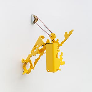 in front of Sakae Midori elementary school<br />W10 N51, Higashi-ku, Sapporo, Japan, State II<br />Compressed PVC, Brass, Steel, Hinges, Rotatable devices, Cord, Pulley<br />Sculpture size:13 x 18 x 24 cm, Installation size:13 x 25 x 24 cm, 2019<br /><br />